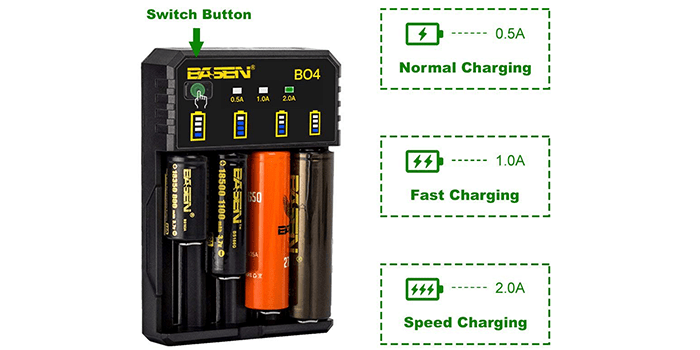 Basen 4-Slots Intelligent Universal Battery Charger