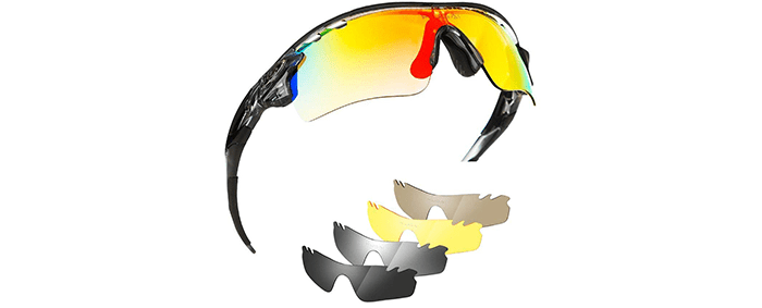 Polarized Sports Bike Sunglasses for Men and Women with 5 Interchangeable Lenses