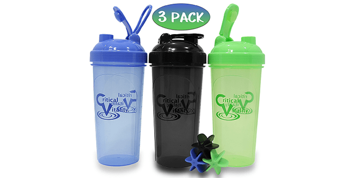Protein Shaker Bottles by Critical Vitality