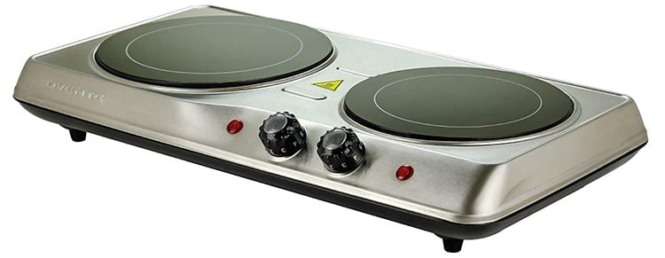Ovente Countertop Infrared Double Plate Cooktop