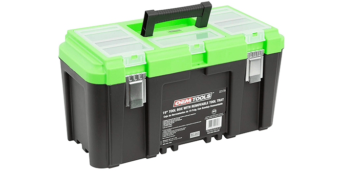 """OEMTOOLS 19"""" Tool Box with Removable Tool Tray"""