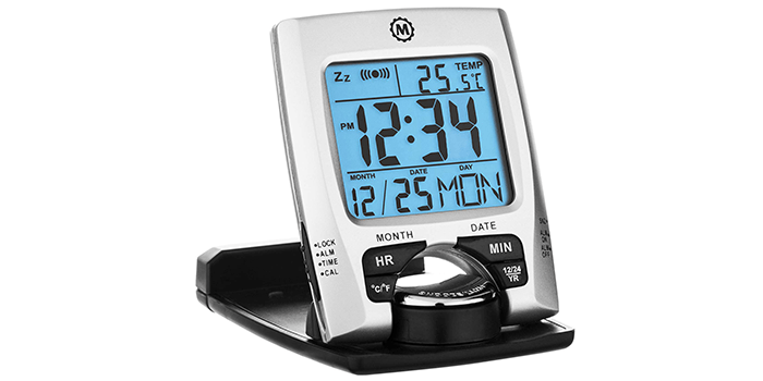 Marathon Travel Alarm Clock with Calendar & Temperature