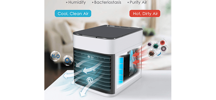 Personal Air Cooler Mini Air Purifier Humidifier with LED Lights
