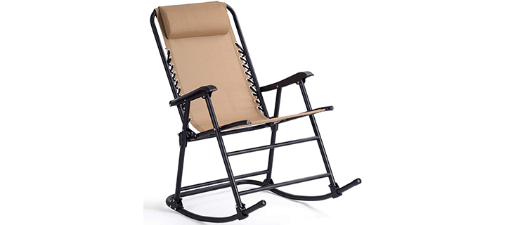 Goplus Folding Rocking Chair Recliner with Headrest
